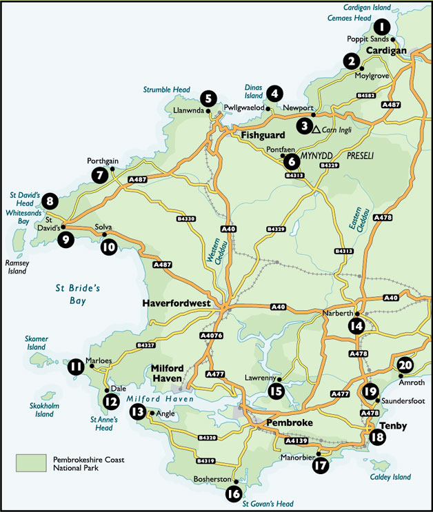 Pembrokeshire Wales Map